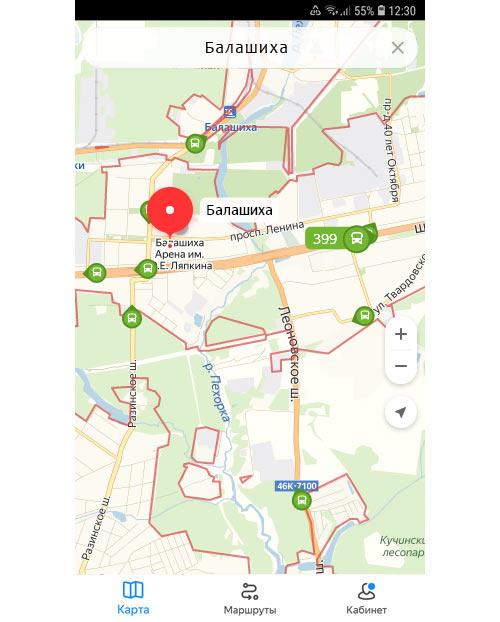Местоположение транспорта онлайн в Балашихе