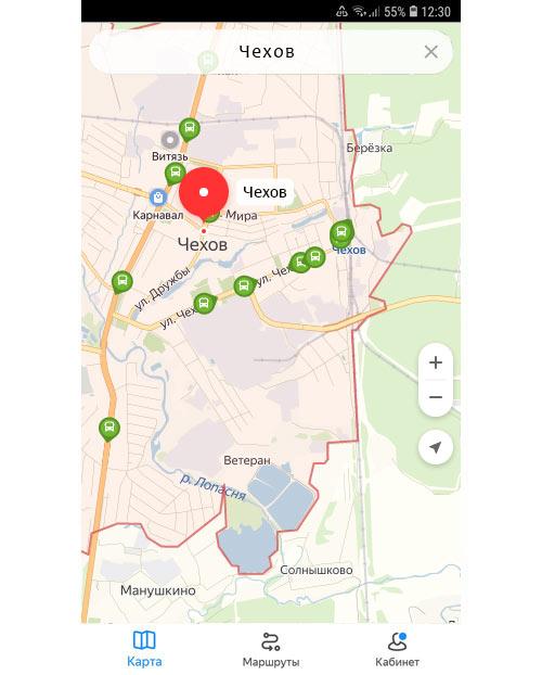 Местоположение транспорта онлайн в Чехове