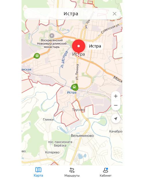 Местоположение транспорта онлайн в Истре