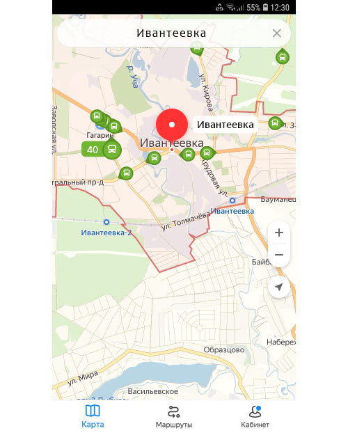 Местоположение транспорта онлайн в Ивантеевке