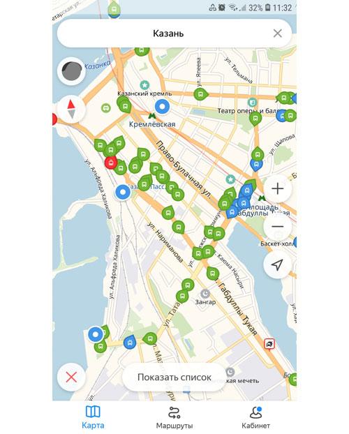 Местоположение транспорта онлайн в Казани