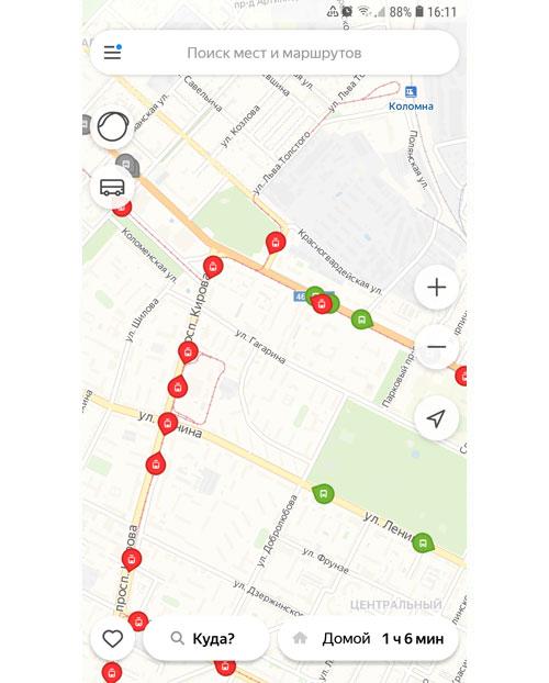 Местоположение транспорта онлайн в Тамбове