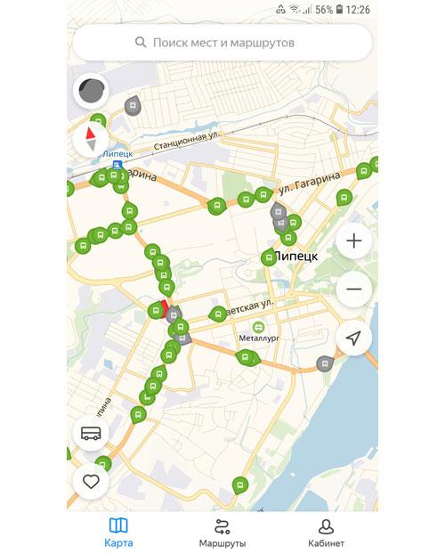 Местоположение транспорта онлайн в Липецке