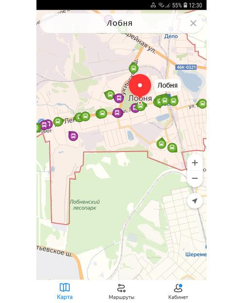 Местоположение транспорта онлайн в Лобне