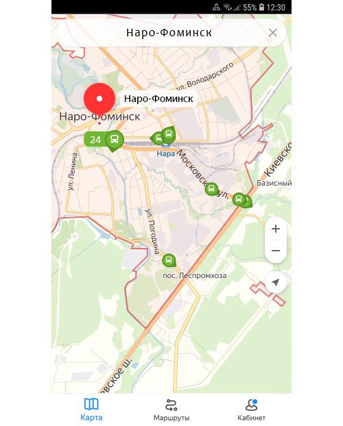 Местоположение транспорта онлайн в Наро-Фоминске