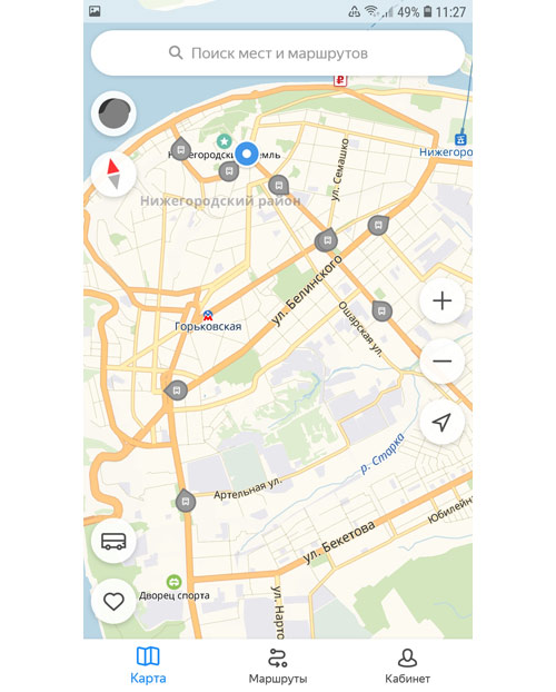 Местоположение транспорта онлайн в Нижнем Новгороде