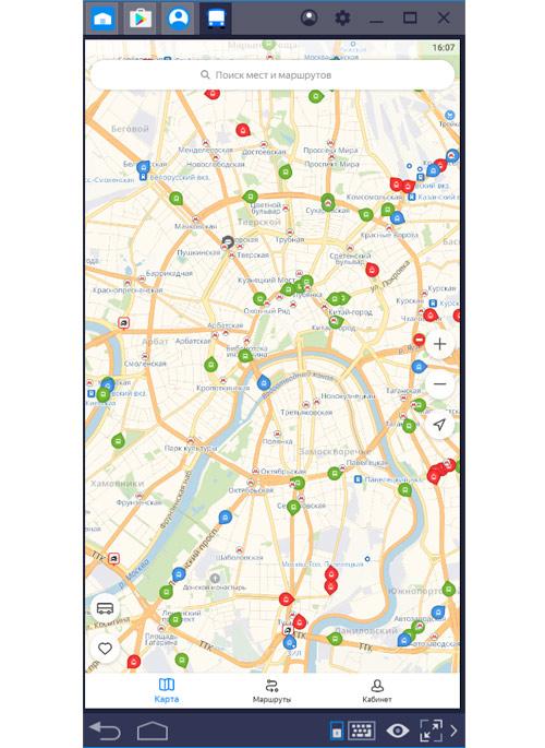 Эмулятор BlueStacks + Яндекс транспорт