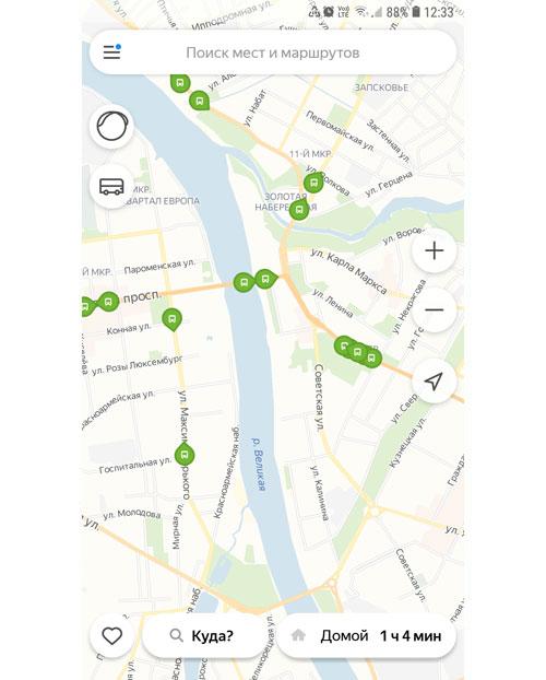 Местоположение транспорта онлайн в Пскове