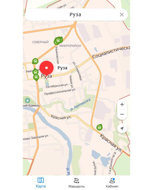 Местоположение транспорта онлайн в Рузе