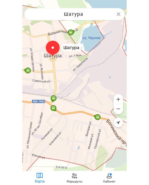 Местоположение транспорта онлайн в Шатуре