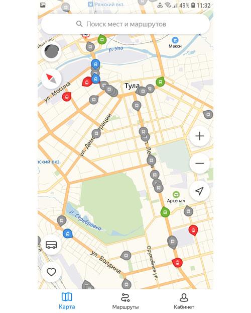 Местоположение транспорта онлайн в Туле