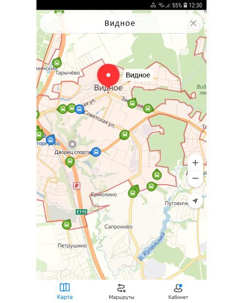 Местоположение транспорта онлайн в Видном
