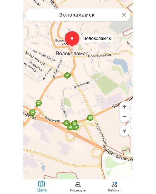Местоположение транспорта онлайн в Волокаламске
